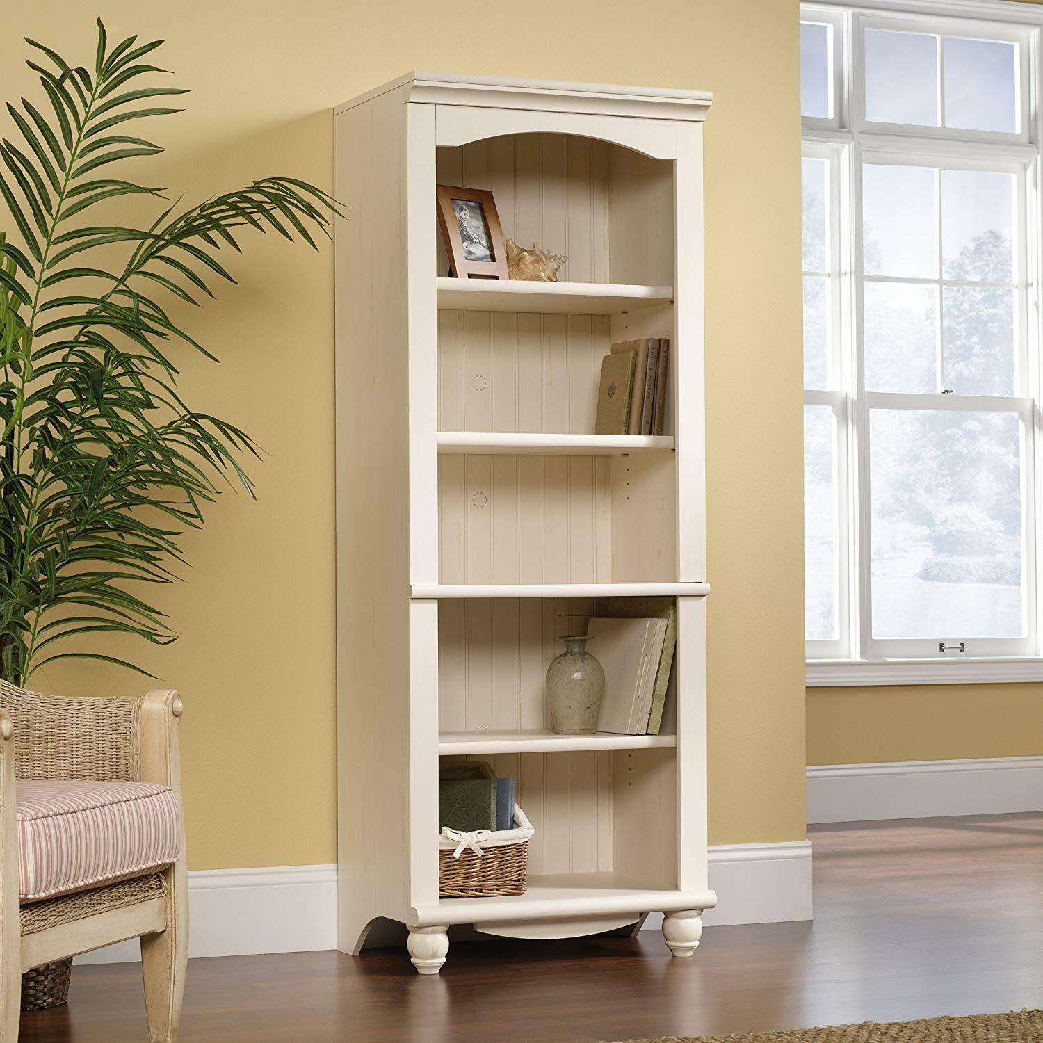 Details About Antique White Bookcase Tall Display Cabinet Wood 5 Shelf 3 Adjustable Shelves