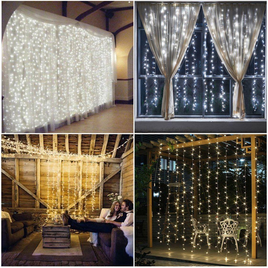 300 - 1500 LED Weihnachten Beleuchtung Vorhang Lichterkette Außen Lichtervorhang