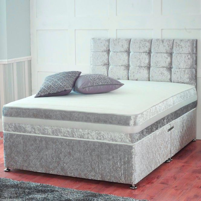 Black Friday Crushed Velvet Divan Bed With Under Storage Orthopedic Mattress