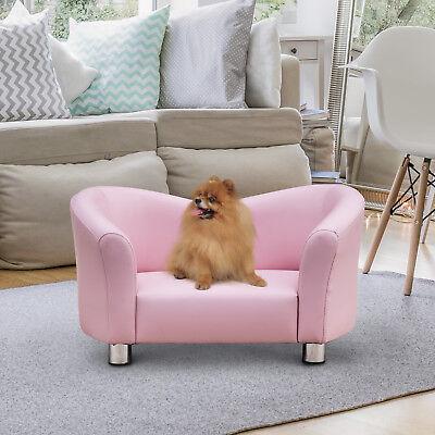Luxus Hundesofa Hundecouch Kunstleder Katzen Sofa Hundebett Haustier Rosa
