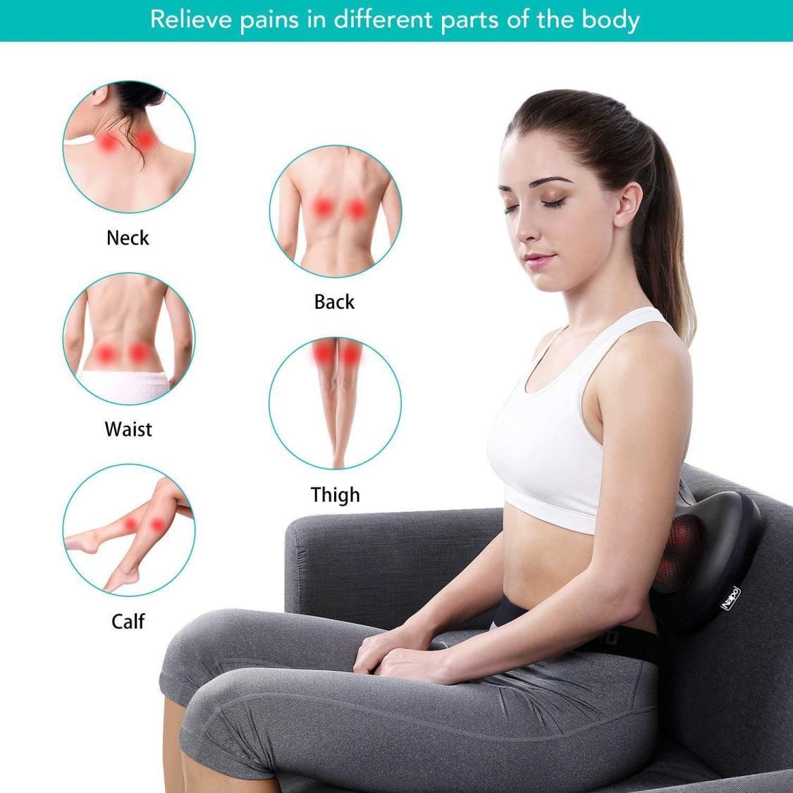 Shiatsu Rücken Nacken Massagekissen Massagegerät schulter Wärmefunktion Auto NEU