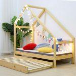 Double Children Floor Bed Frame Toddler Premium Wood Kids Twin Bed Bedroom Safe Ebay