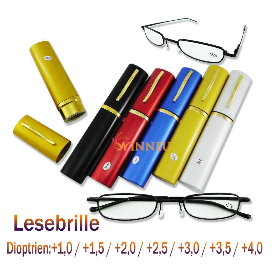 Lesebrille Lesebrillen Brille Lesehilfe Sehhilfe schwarz Metallgestell Alu Etui
