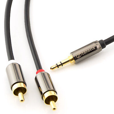 1m Audio Kabel 3,5 mm Klinke auf 2x Cinch RCA Chinch zu AUX Klinke Stecker Jack