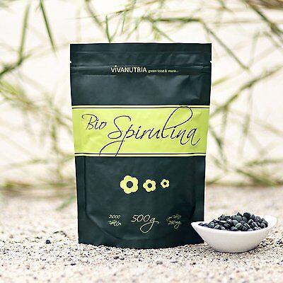 - Bio Spirulina Tabletten, 500g, 2.000 Stück, vegan, VivaNutria (29,80EUR/kg)