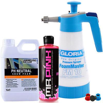 Gloria FM10 Foam Master + ValetPro Snow Foam 1L & Chemical Guys Mr. Pink 473ml