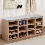 Wooden Shoe Cabinet Bench Seat Cushion Storage Rack Organiser 9 Pairs Oak Wood For Sale Ebay