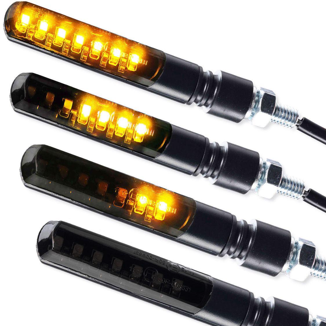 Motorrad LED Mini Blinker Blade Laufeffekt Lauflicht Sequentiell schwarz getönt