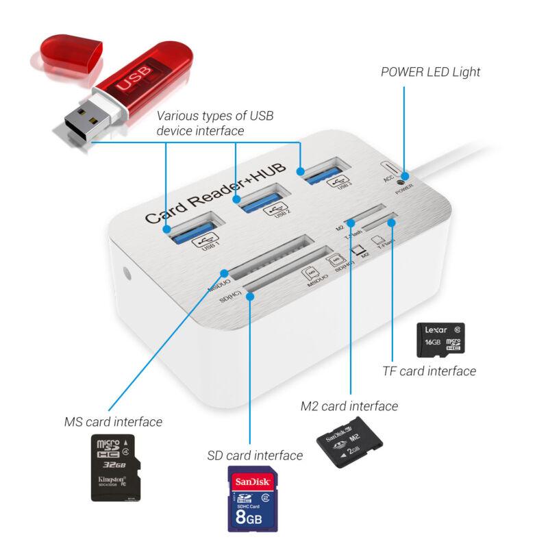 Neu Usb Hub 3.0 3 Ports USB Adapter mit Card Reader SD/TF/MS/M2 Kartenleser Led