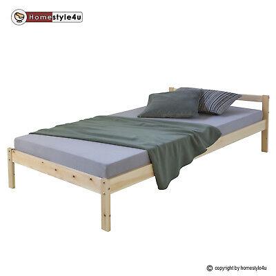 Holzbett Jugenbett Kinderbett 90x200 natur Bett Tagesbett Einzelbett Bettgestell