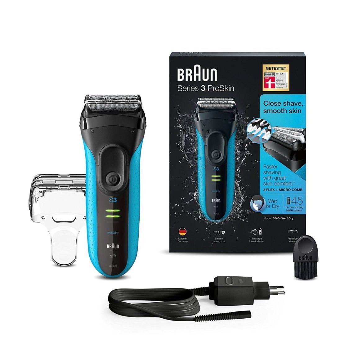 ✓ BRAUN Series 3 ProSkin 3040s, Wet&Dry, Rasierer/Elektrorasierer Schwarz/Blau ✓