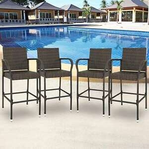 Set Of  Outdoor Brown Wicker Barstool Patio Furniture Bar Stool Lbs Capacity