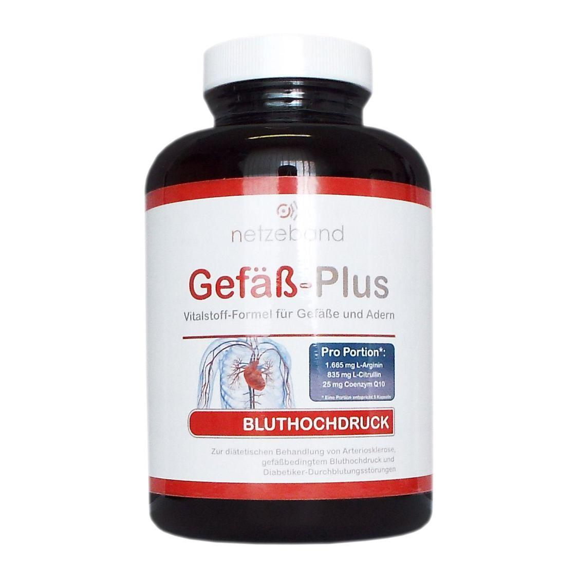 Netzeband Gefäß-Plus 300 Kapseln (L-Arginin/L-Citrullin/Q10) Blutdruck Gefäße