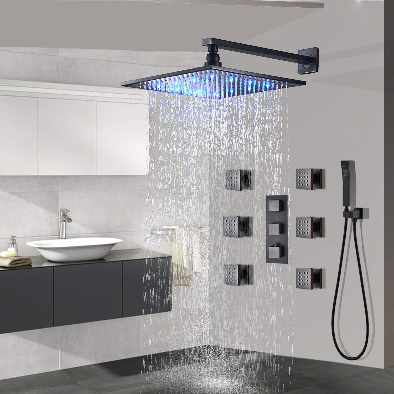 Details About Thermostaic Shower Faucet System 8 Led Rain Massager Body Jet Oil Rubbed Bronze
