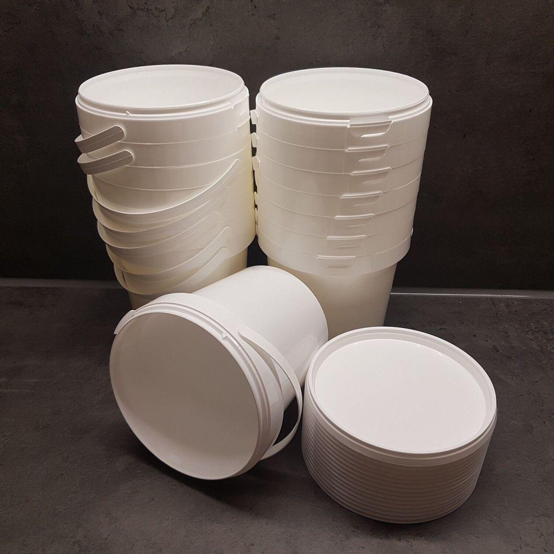 15 Stück Eimer weiss mit Deckel 1 Liter lebensmittelecht Neuware Kunststoffeimer