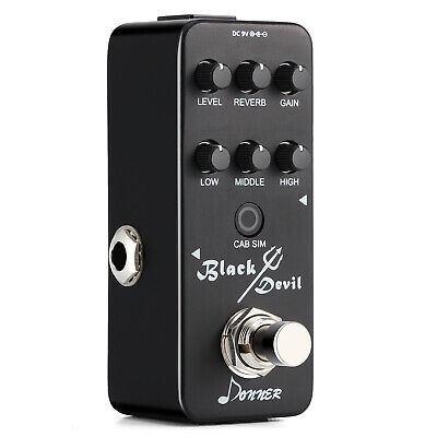 Donner Guitar Effect Pedal with Reverb Devil Mini Preamp Metal Distortion Black