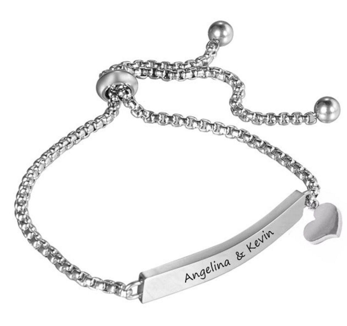 ID Edelstahl Armband mit Herz und Gravur nach Wunsch in Silber, Stoppverschluss