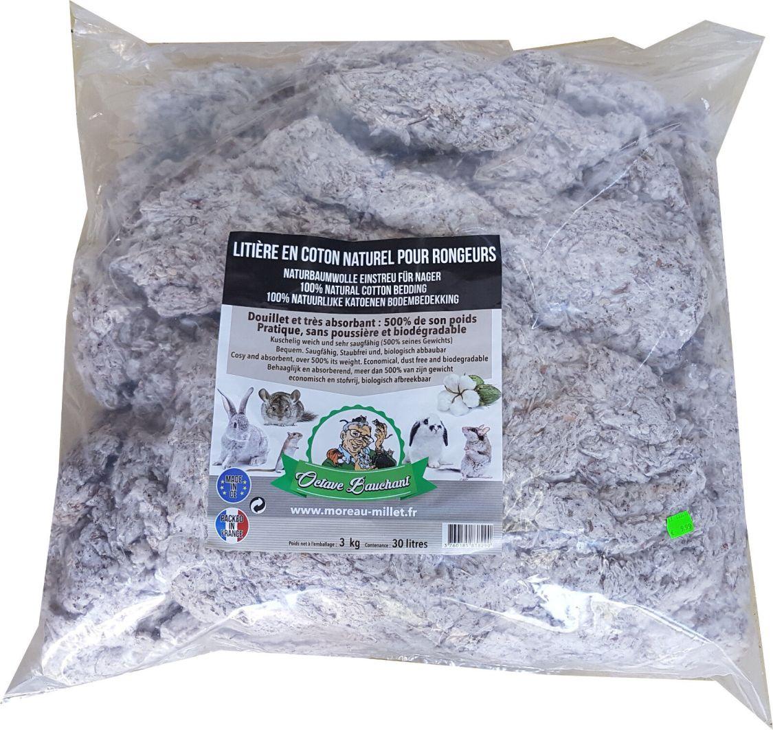 Moreau Baumwollstreu 30 Liter Einstreu für Nager staubfrei Naturbaumwolle