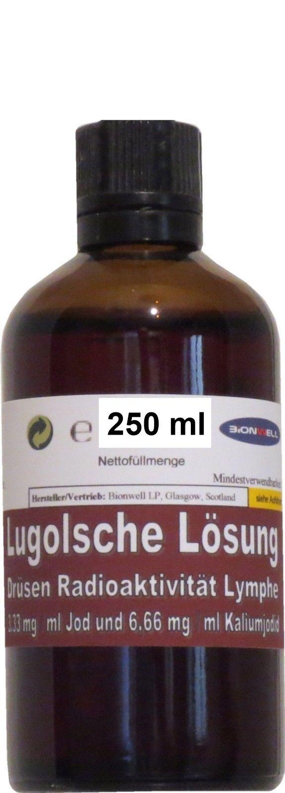 250 ml Flasche 5 % Lugolsche Lösung Jod Kaliumiodid Apothekerglas TROPFEREINSATZ