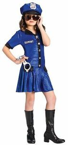 Girls Police Officer Costume Halloween Fancy Dress Cop-Woman Childs Kids Blue