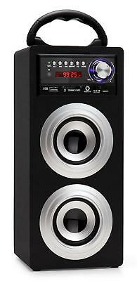 Mobil Bluetooth Lautsprecher USB SD AUX MP3 Player Radio Box Sound System silber