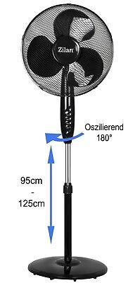 Ø42cm Ventilator 50W Leiser Standventialtor Luftkühler Windmaschine Rotation NEU