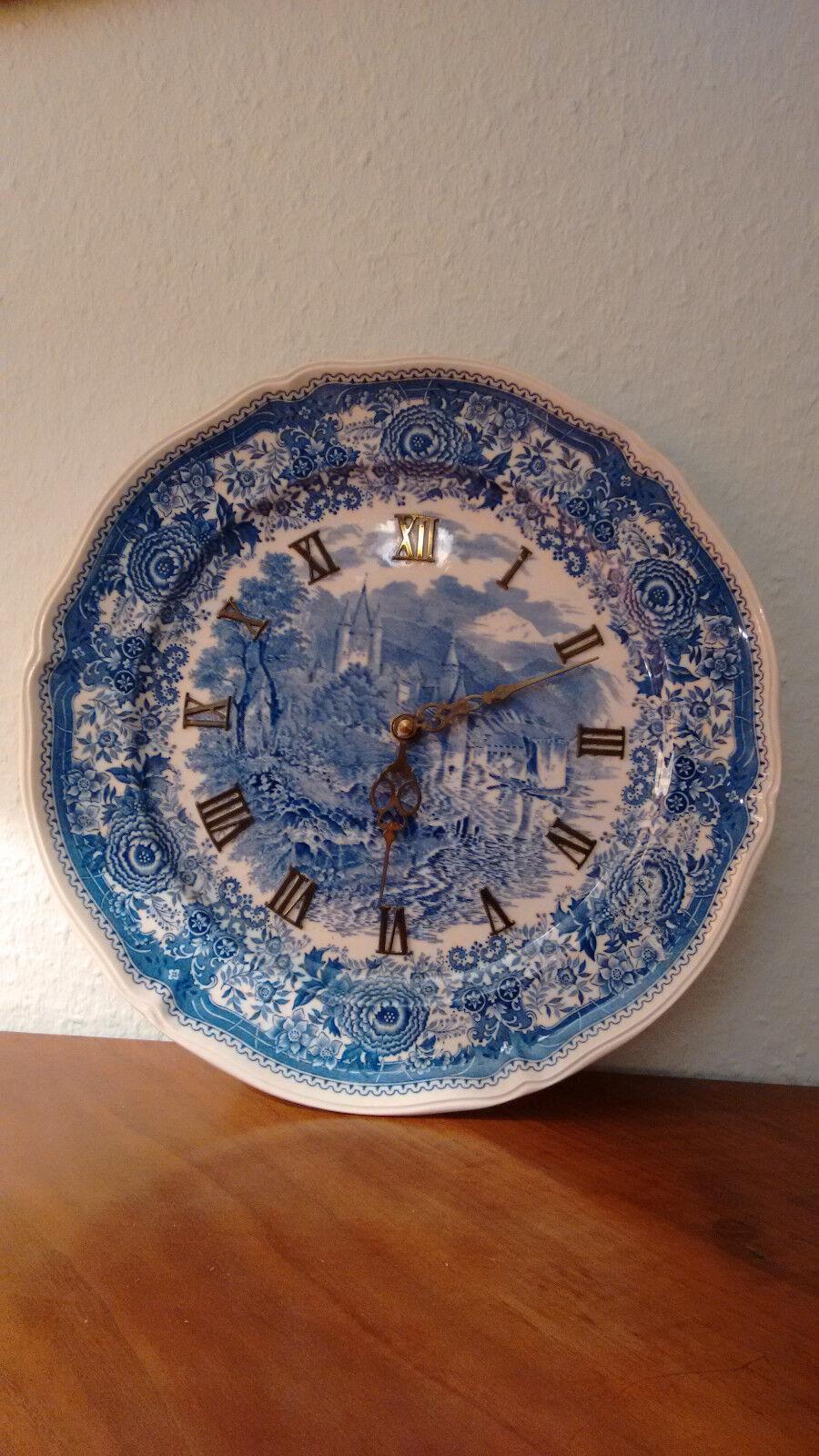 Junghans Küchenwanduhr, Keramik bemalt, Landschaftsmotiv
