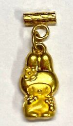 24K Solid Real Yellow Gold Vintage Charm Pendant 1.14g #F466