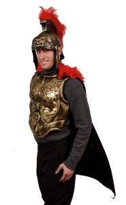 Gold Spartan Armor Front W Attached Black Cape Greek Armor Crusades 22001