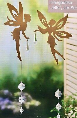 2 Dekohänger Elfen NEU aus Metall in rost - braun Elfe