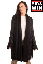 RRP€1090 RICK OWENS LILIES Wrap Coat Size 48 2XL Angora&Wool Blend Made in Italy