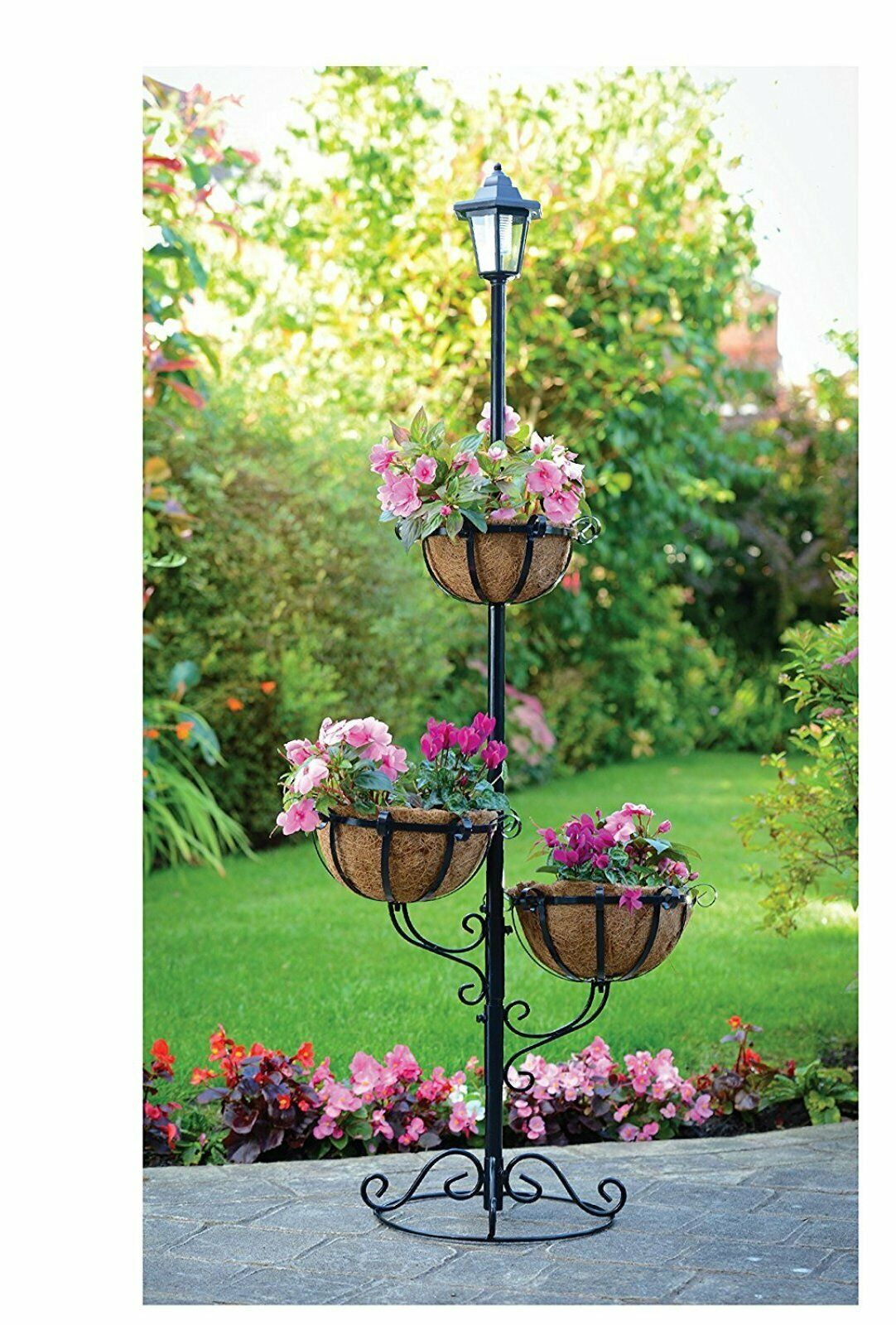 3 Tier Outdoor Flower Stand Hanging Plant Display Basket ... on Plant Stand Hanging  id=19327