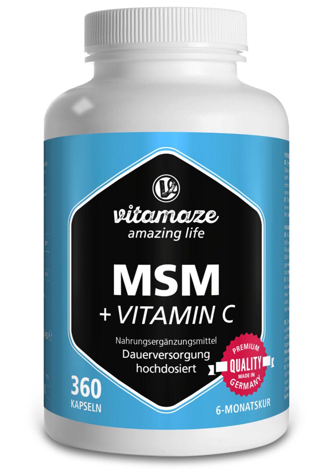 MSM Kapseln + Vitamin C 360 Stück für 6 Monate Methylsulfonylmethan 99,9% rein