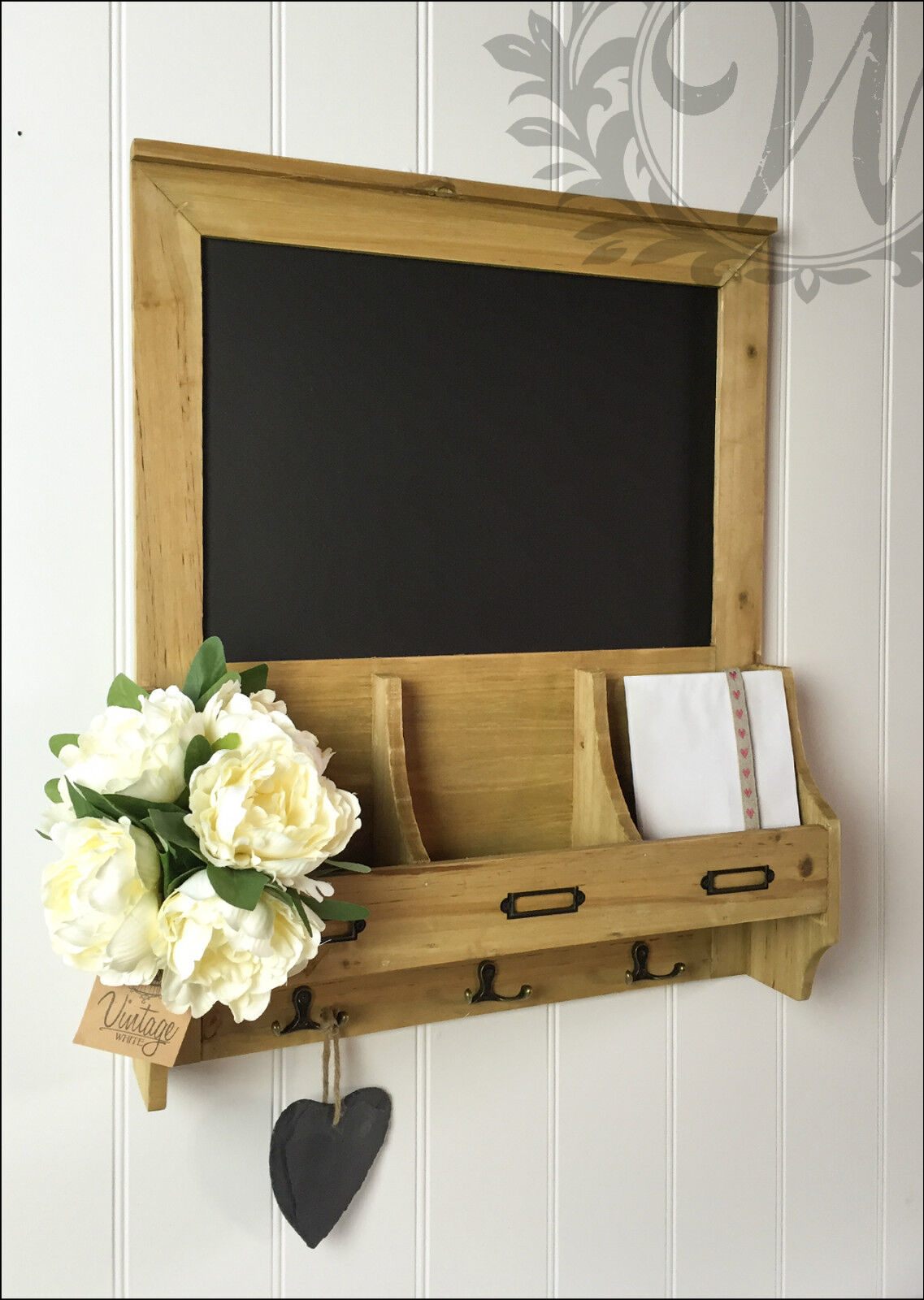 Vintage Blackboard Shabby Chic Memo Notice Wooden Chalk