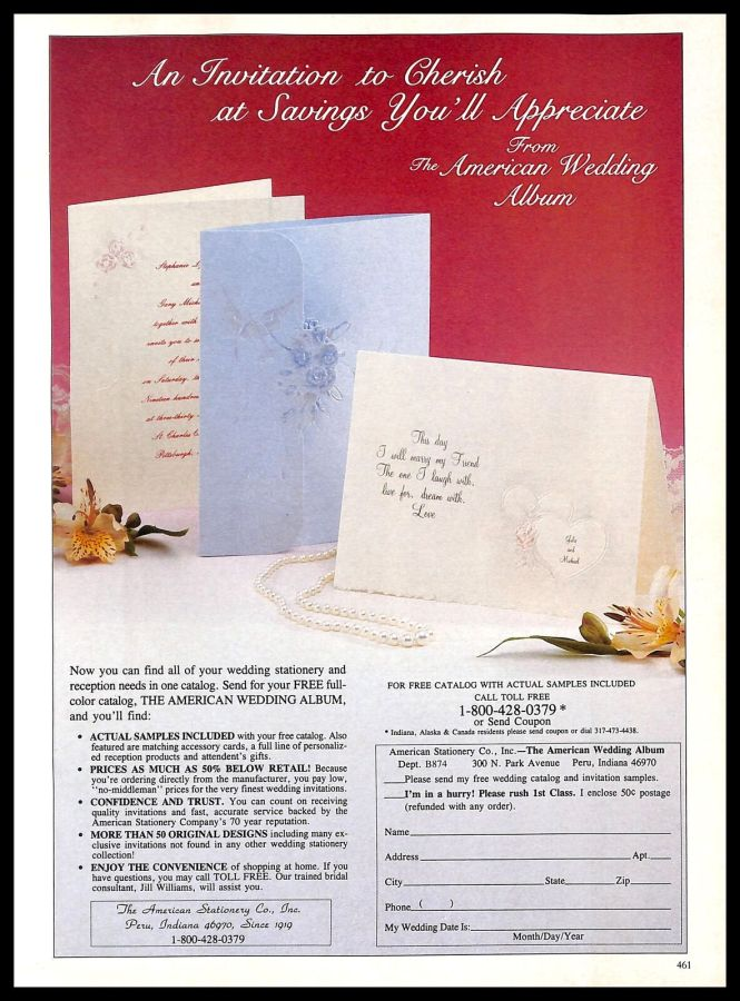 Details About 1987 The American Wedding Al Invitations Vintage Print Ad Marriage Bride Love