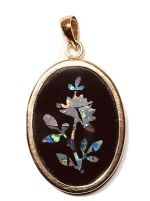 BEAUTIFUL Vintage 14K 585 Gold Black Onyx Fire Opal FLORAL Inlay PENDANT