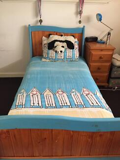 Single Bed Frame With Mattress Blue Bedside Table Wood