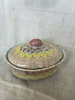 MACKENZIE CHILDS SMALL COVERED CASSEROLE IN PASTEL COLORS