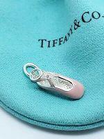 Tiffany & Co Sterling Silver Pink Enamel Ballet Slipper Diamond Pendant Charm