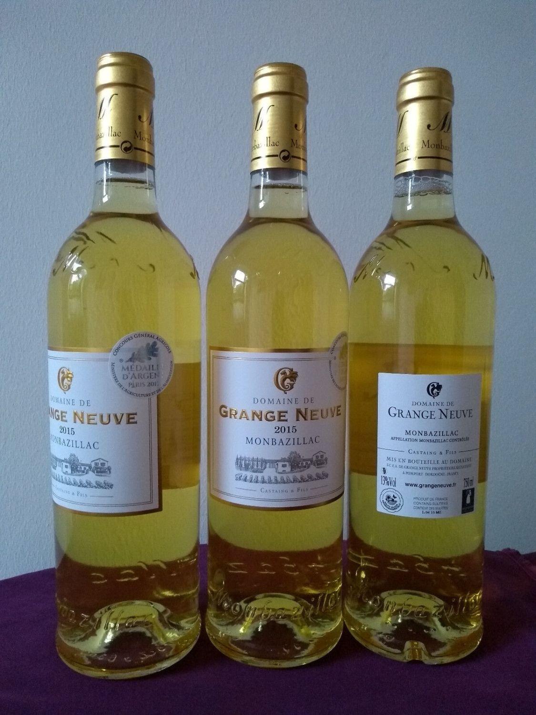 Grundpreis 15,33€/L: Weißwein edelsüss, 6x075L Monbazillac, AOC2015 -Silbermed.!