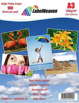 100 Blatt DIN A3 230g/m² Fotopapier HGlossy+wasserfest von LabelHeaven