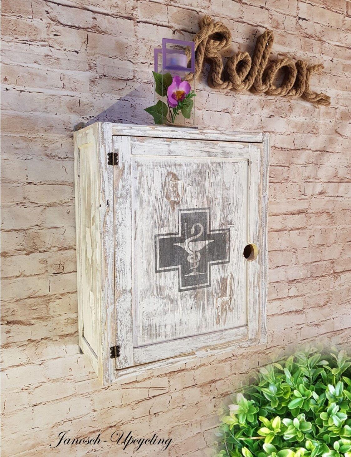 Medizinschrank Hausapotheke Medikamenten Erste Hilfe Schrank Shabby Holz Vintage
