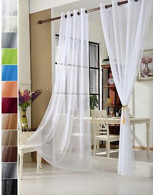 Gardinen Stores Vorhang transparent Ösen Schal Fensterschal Vorhänge Voile #304