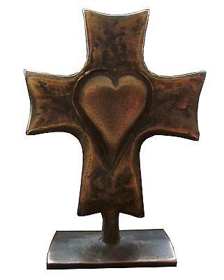 Bronzekreuz Herz Stehkreuz 7cm * 9cm Kommunion Bronze Cross Heart