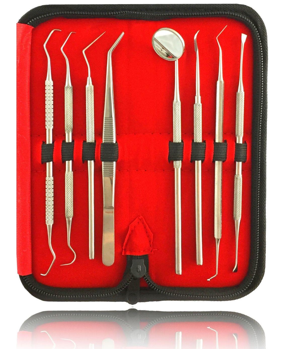 8er Dental Set Zahnreinigung Zahnsteinentferner Zahnpflege Mundspiegel Zahnsonde