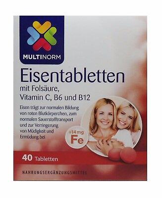 Multinorm Eisentabletten mit Folsäure 14mg + Vitamin C,B6 + B12 40Stk MHD:12-202