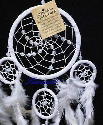 Indianer Traumfänger Snow-Wheel Dreamcatcher Weis Schneeweiss 11 cm