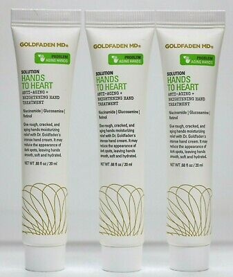 Lot of 3 GOLDFADEN MD Hands to Heart Anti-Aging + Brightening Hand Cream 20ml ea