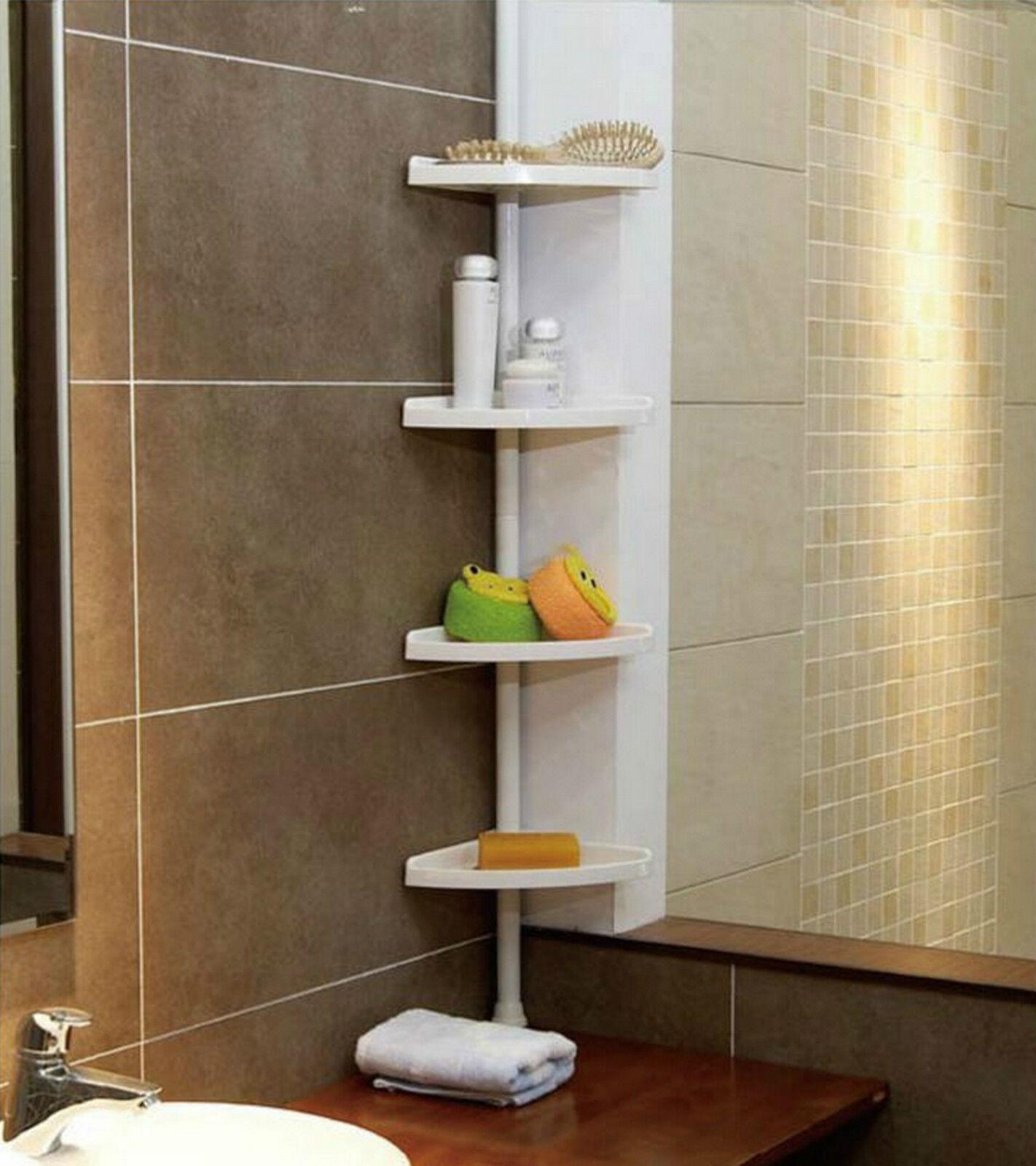 WHITE 4 Tier Adjustable Telescopic Corner Shower Bathroom ... on Bathroom Corner Shelf  id=86505