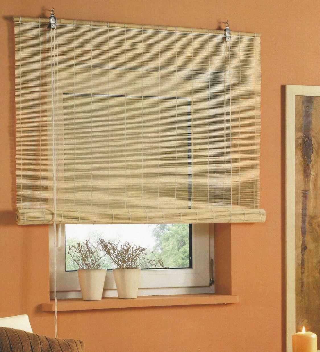 Bambus Rollo Holz Jalousie Bambusrollo Sichtschutz Holzrollo Fensterrollo Natur